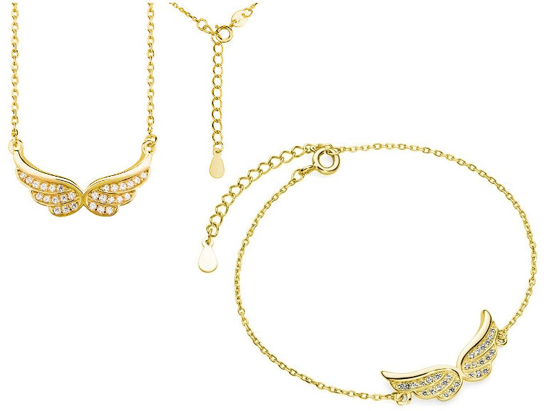 Elegancki pozłacany srebrny komplet celebrytka skrzydła anioła wings cyrkonie srebro 925 Z1320Z