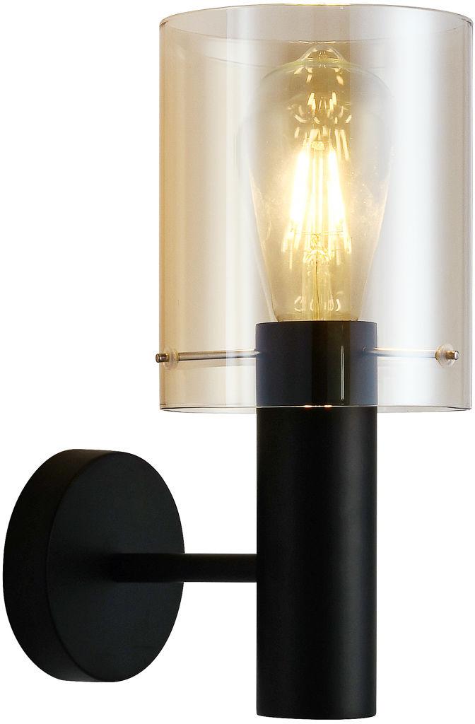 Italux Sardo WL-5581-1A-BK+AMB kinkiet lampa ścienna stal czarny klosz szkło bursztynowy IP20 E27 1x40W 29cm