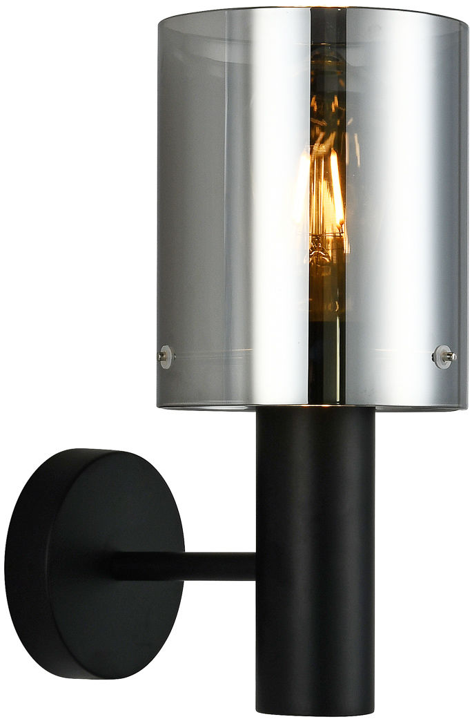 Italux Sardo WL-5581-1A-BK+SG kinkiet lampa ścienna stal czarny klosz szkło dymiony IP20 E27 1x40W 29cm