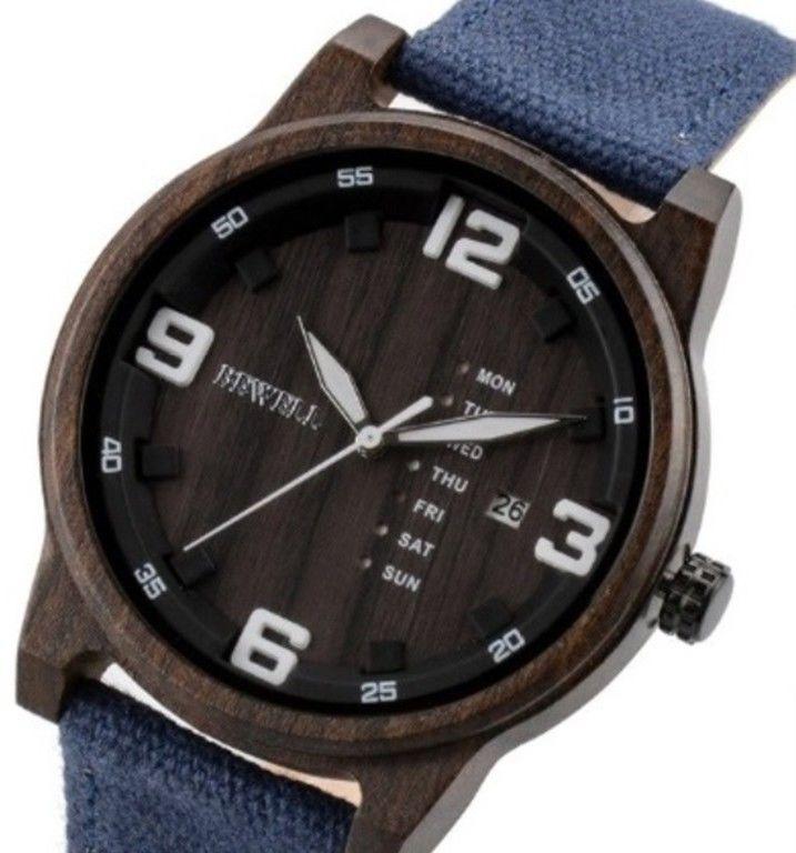 Drewniany zegarek Bewell ZS-W156A Niebieski
