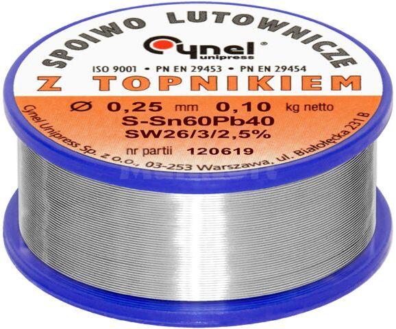 Spoiwo CYNEL Sn60Pb40 drut lutowniczy 0,25mm 0,1kg Topnik F-SW26