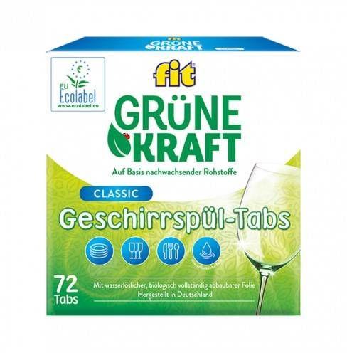 Niemieckie ECO tabletki do zmywarki - Fit Grune Kraft 72 sztuki, certyfikat Ecolabel