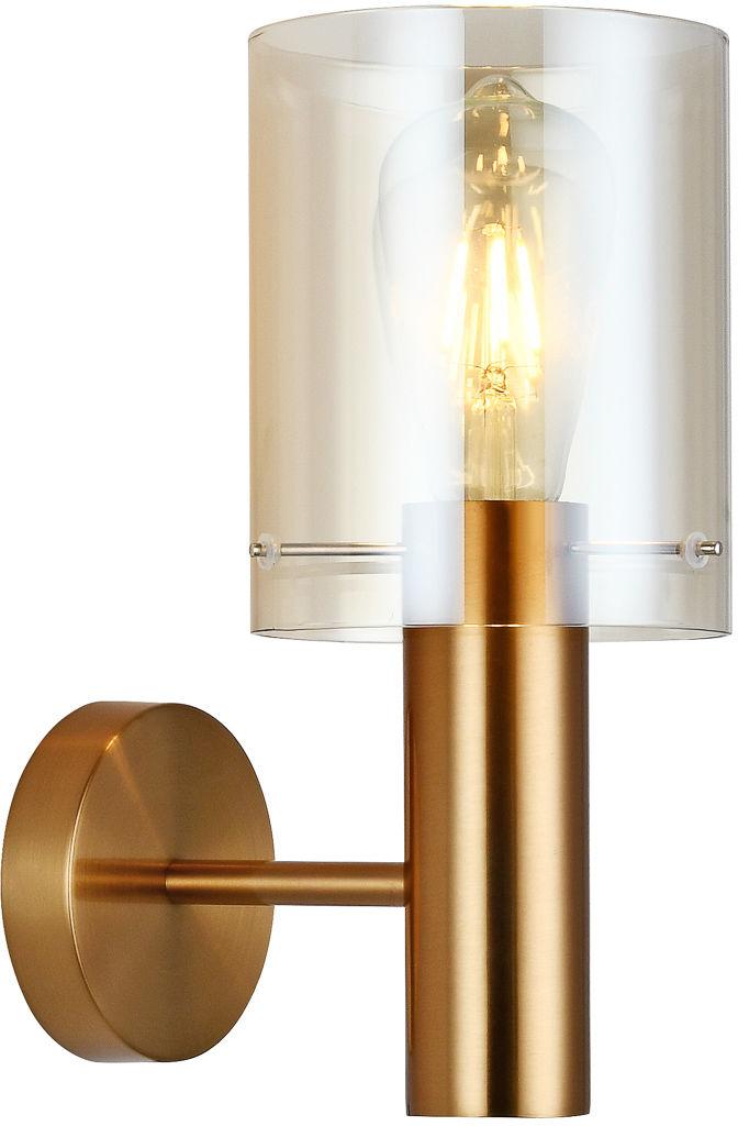 Italux Sardo WL-5581-1A-BRO+AMB kinkiet lampa ścienna stal mosiężny klosz szkło bursztynowy IP20 E27 1x40W 29cm