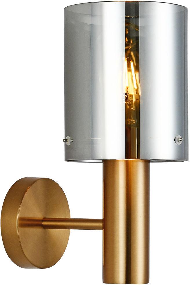Italux Sardo WL-5581-1A-BRO+SG kinkiet lampa ścienna stal mosiężny klosz szkło dymiony IP20 E27 1x40W 29cm