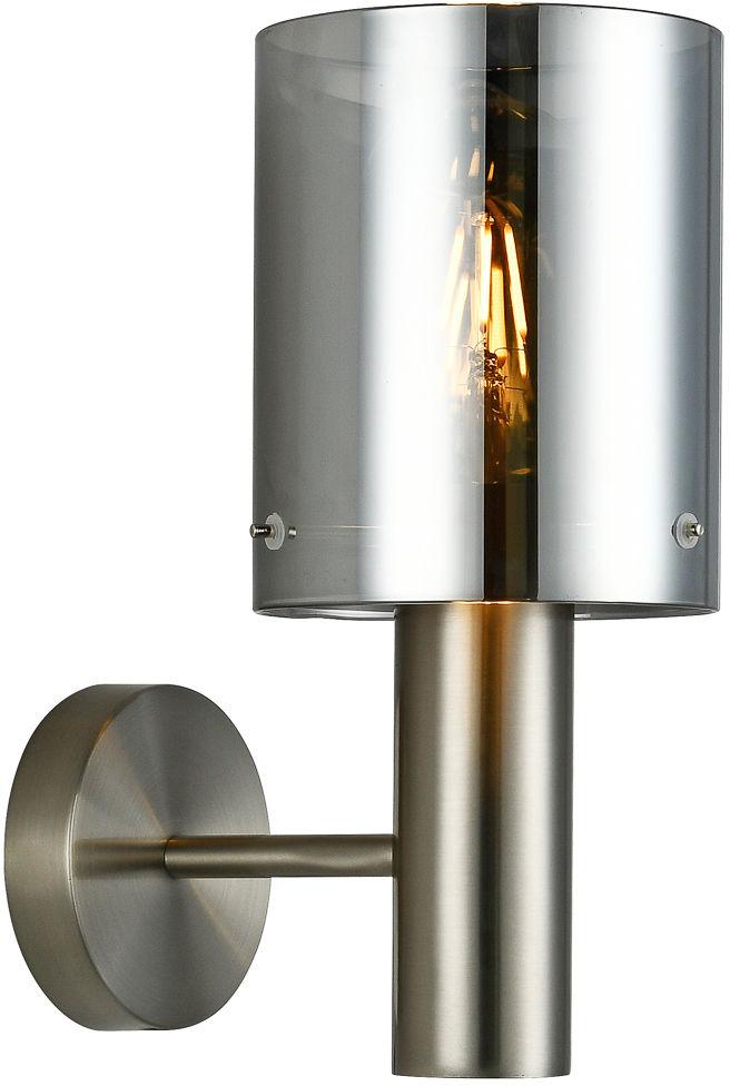 Italux Sardo WL-5581-1A-SC+SG kinkiet lampa ścienna stal nikiel satynowany klosz szkło dymiony IP20 E27 1x40W 29cm