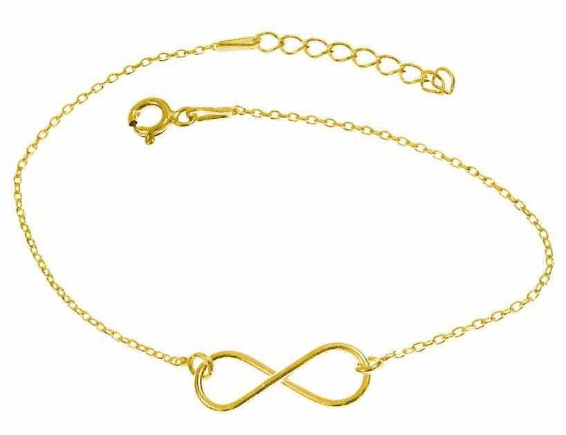 Elegancka pozłacana srebrna bransoletka na nogę celebrytka nieskończoność infinity srebro 925 FL160BN