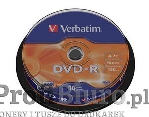 Płyty Verbatim DVD-R 4,7GB 16x - Cake Box - 10szt. - Matt Silver