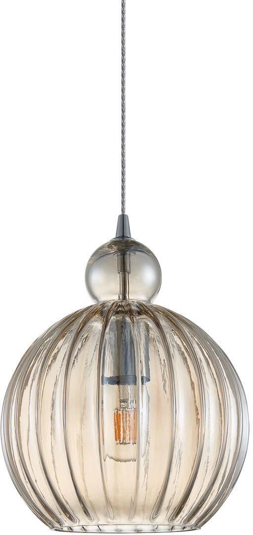Italux Biron PND-8744-1M-CG lampa wisząca nowoczesna metal chrom klosz szkło koniak IP20 25cm E27 1x60W