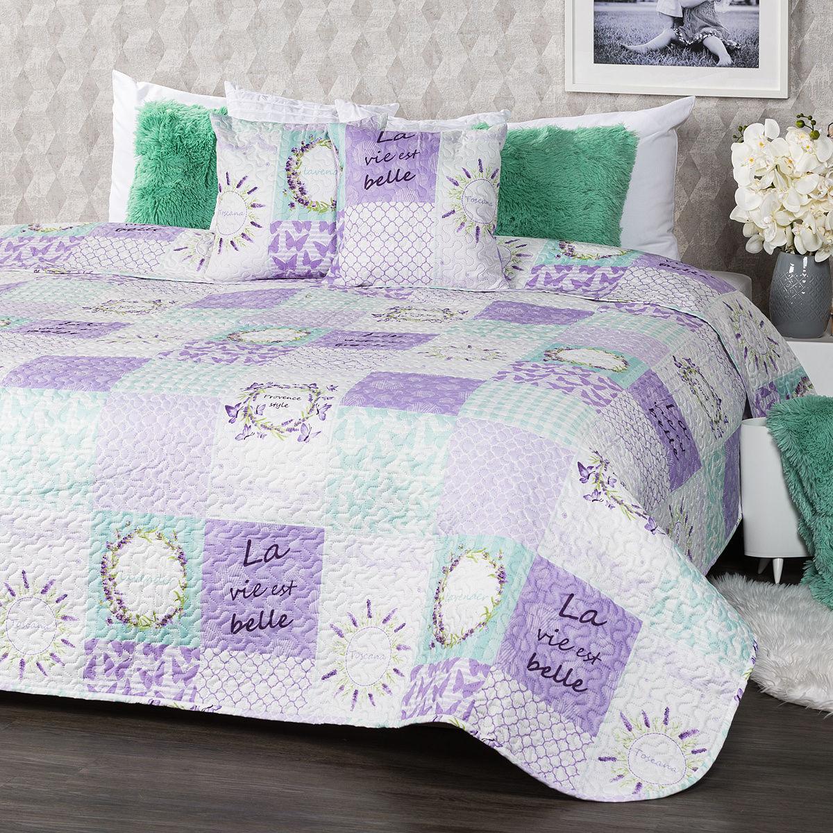 4Home Narzuta na łóżko Lavender, 220 x 240 cm, 2 szt. 40 x 40 cm