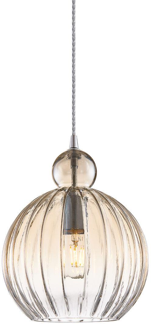 Italux Biron PND-8744-1M-CGSH lampa wisząca nowoczesna metal chrom klosz szkło koniak IP20 25cm E27 1x60W