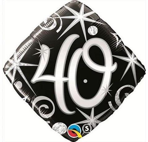 """Balon foliowy na 40 urodziny, czarne serpentyny i gwiazdki, 18"""""""