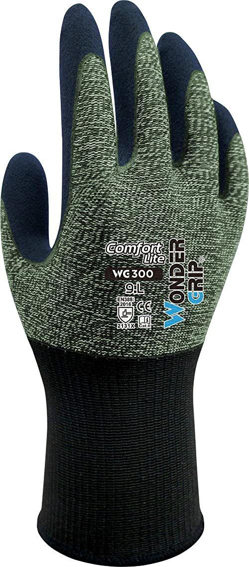 Wonder Grip WG-300 Comfort Lite rękawice robocze z powłoką lateksową, rękawiczki, przyczepność, rękawice ochronne zapewniające wysoką przyczepność S / 07, lateks, zielony, S/7