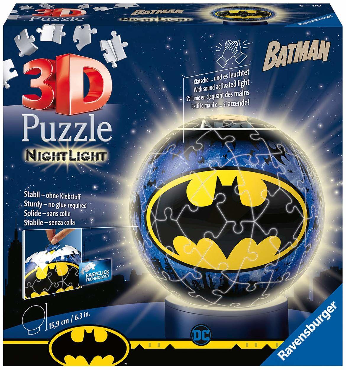 Nachtlicht - Batman 3D Puzzle-Ball 72 Teile: Erlebe Puzzeln in der 3. Dimension