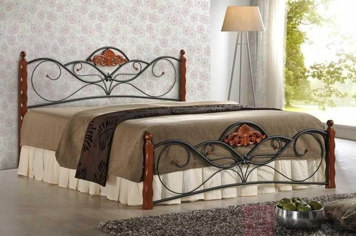 Łóżko VALENTINA Halmar 160x200 cm, Czereśnia antyczna + czarny