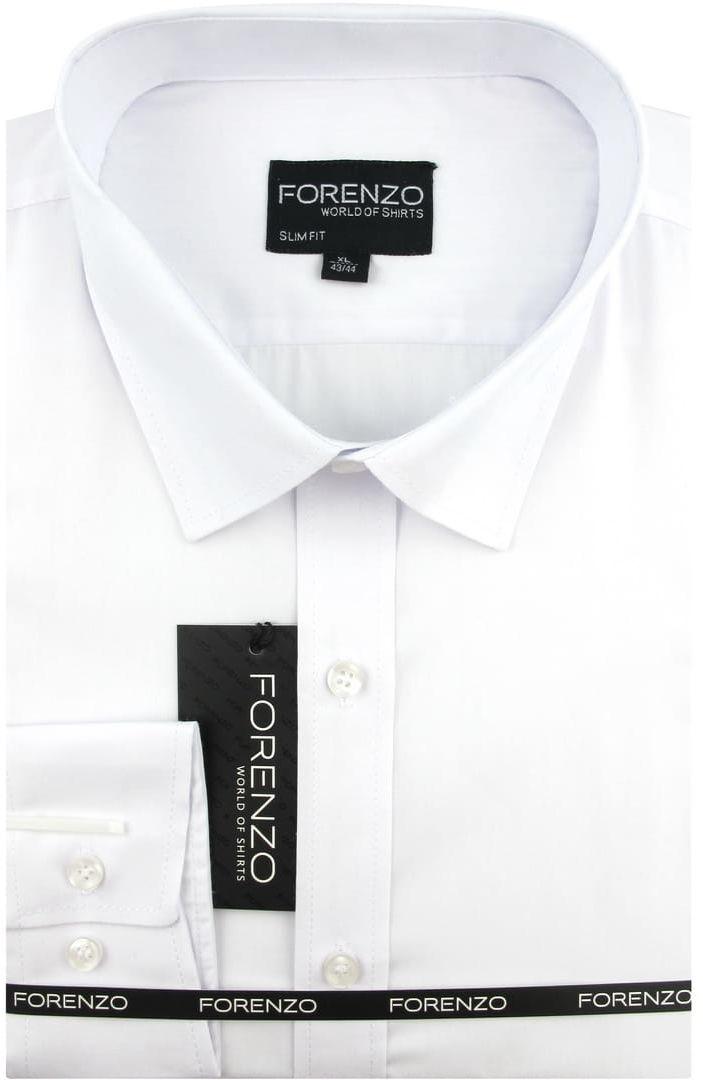 Koszula Męska Elegancka Wizytowa do garnituru gładka biała z długim rękawem w kroju SLIM FIT Forenzo B262