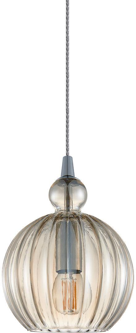 Italux Biron PND-8744-1S-CG lampa wisząca nowoczesna metal chrom klosz szkło koniak IP20 15cm E27 1x60W