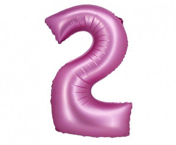 Balon foliowy cyfra 2 satynowy różowy 76cm 1 sztuka CH-BSR2