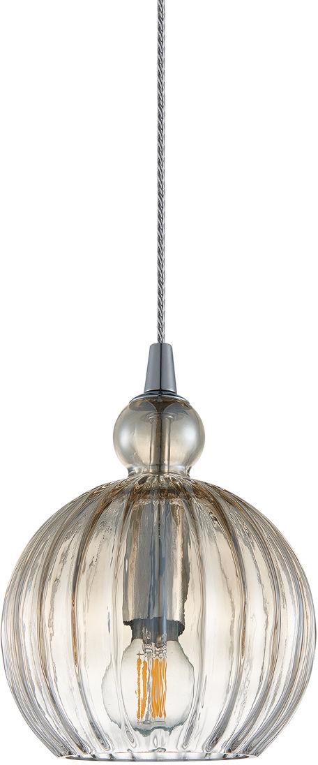 Italux Biron PND-8744-1S-CGSH lampa wisząca nowoczesna metal chrom klosz szkło koniak IP20 15cm E27 1x60W