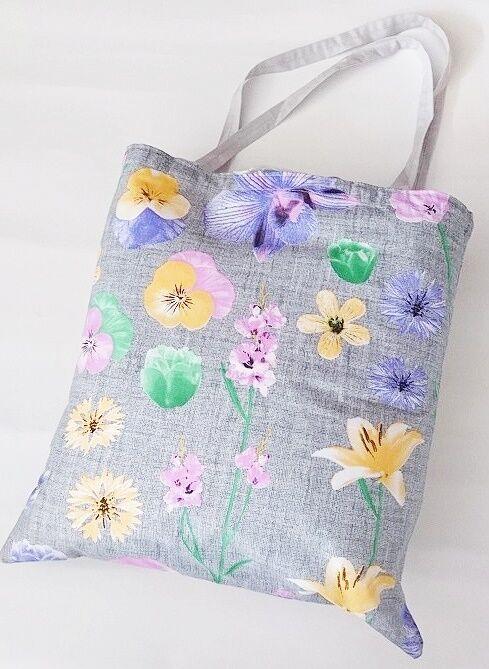 Torba bawełniana na zakupy 37x38 szara kolorowe kwiaty