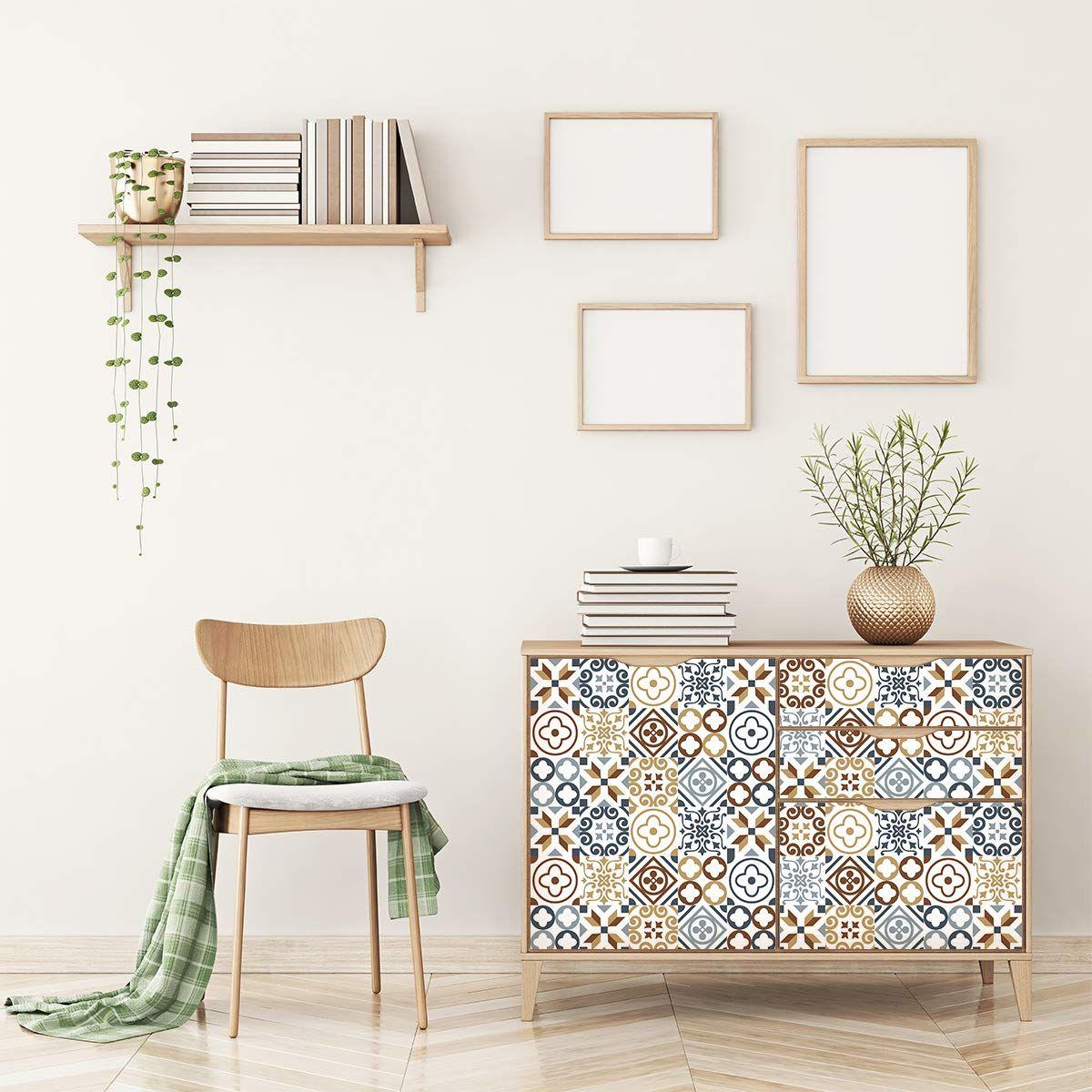 Naklejka na meble, samoprzylepna, płytki cementowe, dekoracja na stół, szafy, regały, 90 x 150 cm