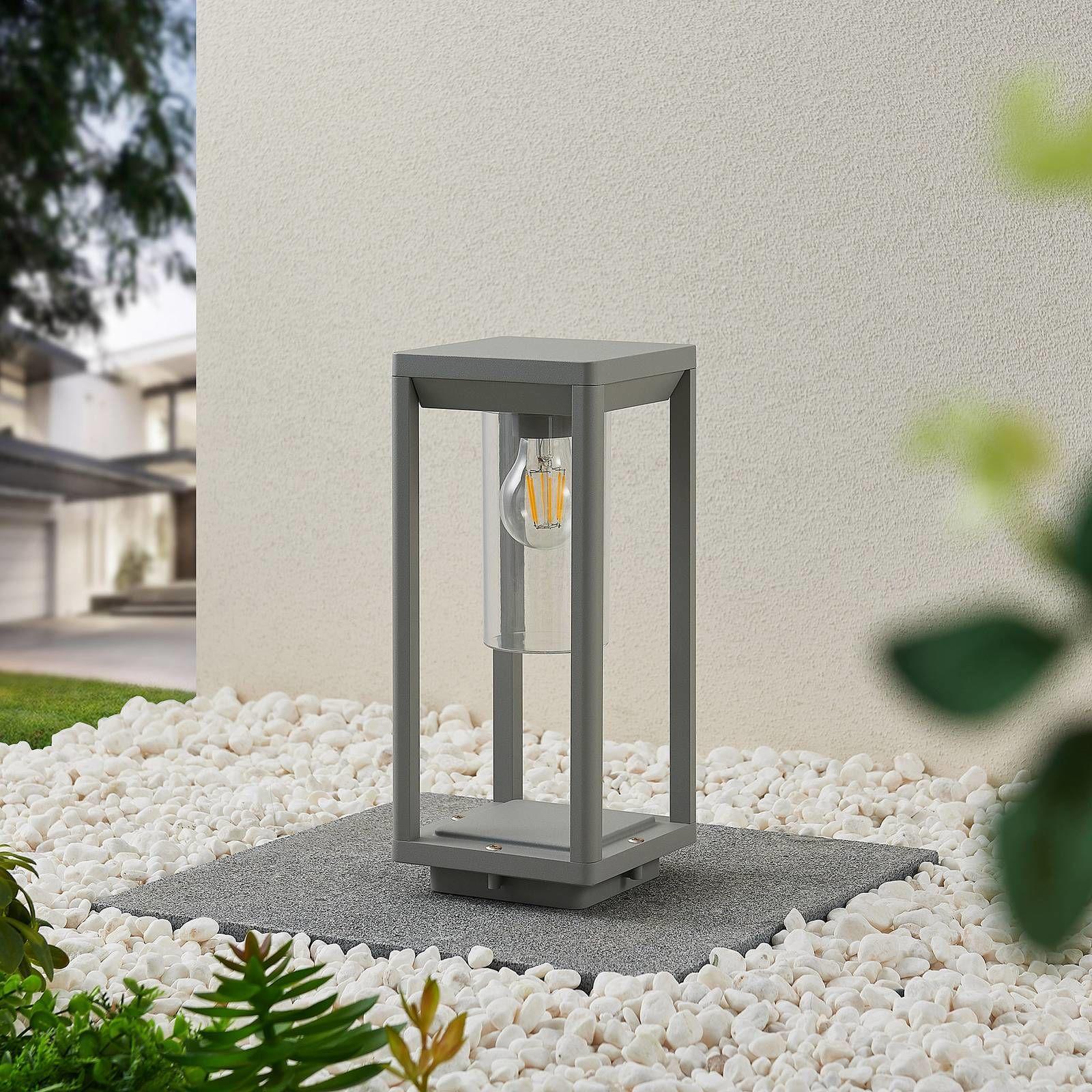 Lindby Estami lampa cokołowa 35 cm, srebrnoszara
