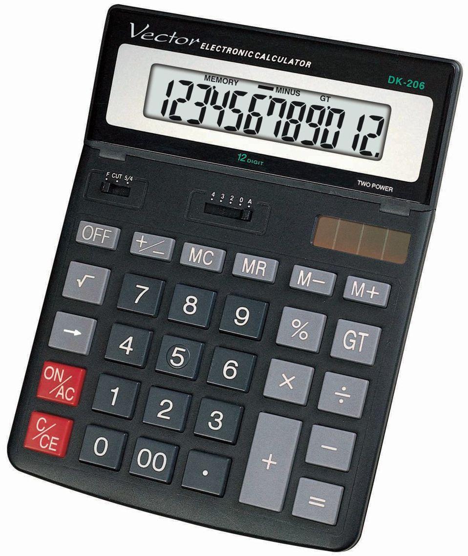 Kalkulator Vector DK-206 BLK- regulowany wyświetlacz
