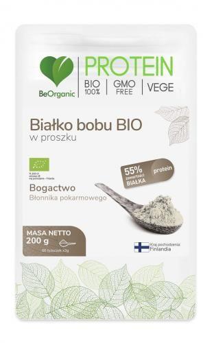 Białko bobu w proszku bezglutenowe BIO 200 g Be Organic