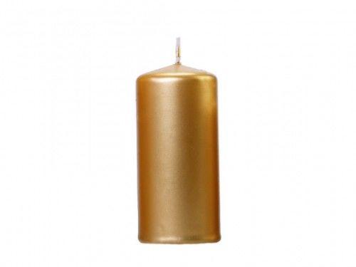 Świece klubowe, grube złote metalizowane 12 x 6 cm, (6 szt.)