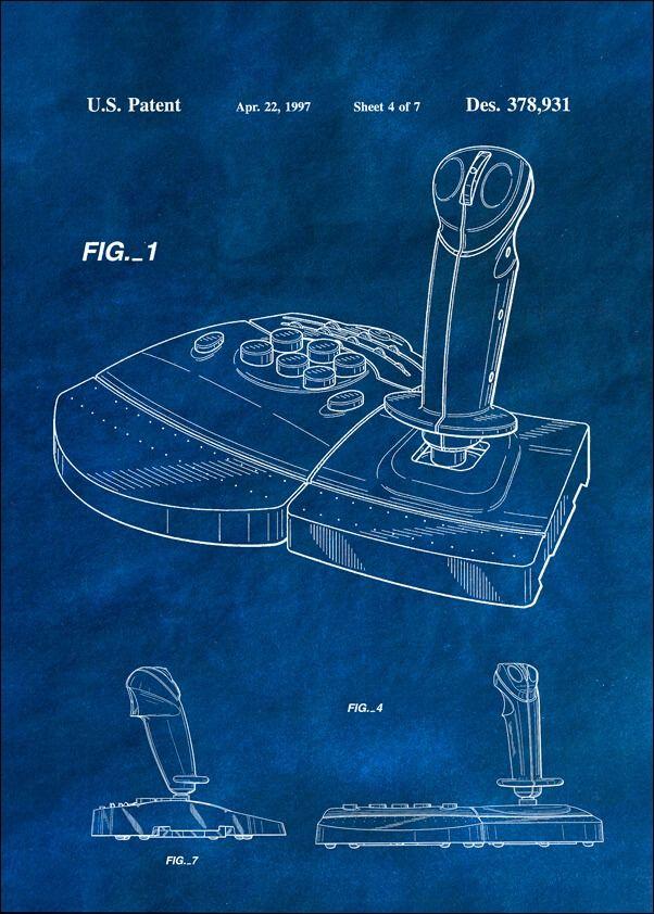 Patent, joystick do gier 1997 niebieski - plakat wymiar do wyboru: 20x30 cm