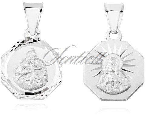 Srebrny święty medalik jezus / matka boska szkaplerzna