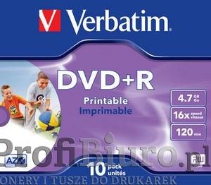 Płyty Verbatim DVD+R 4,7GB 16x - Jewel Case - 10szt. - Do nadruku