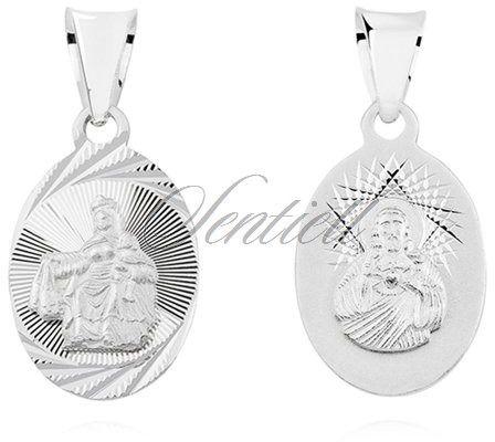 Srebrny medalik (925) dwustronny jezus / matka boska szkaplerzna