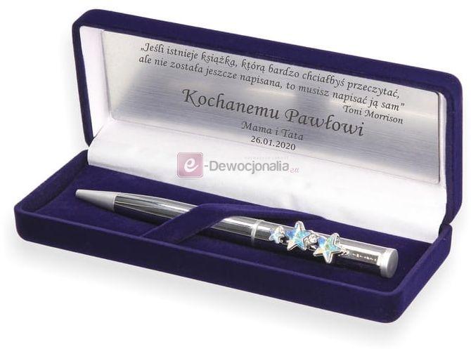 Długopis zdobiony kryształkami Swarovski w pudełku NAVY BLUE z grawerem PREZENT