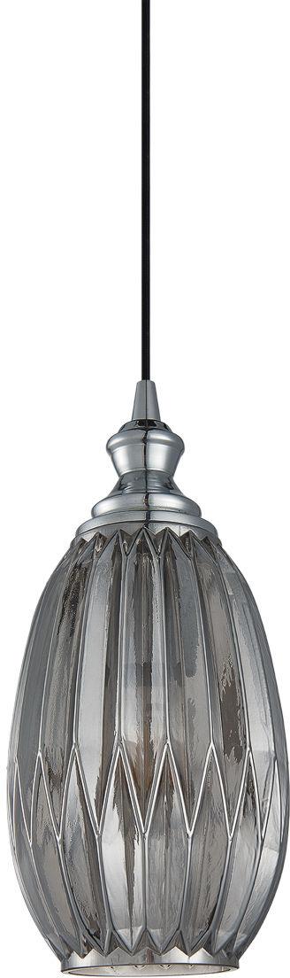 Italux Rodez PND-8002-1B-GR lampa wisząca nowoczesna metalowa chrom klosz szkło szary dymiony IP20 E27 1x60W 14,5cm