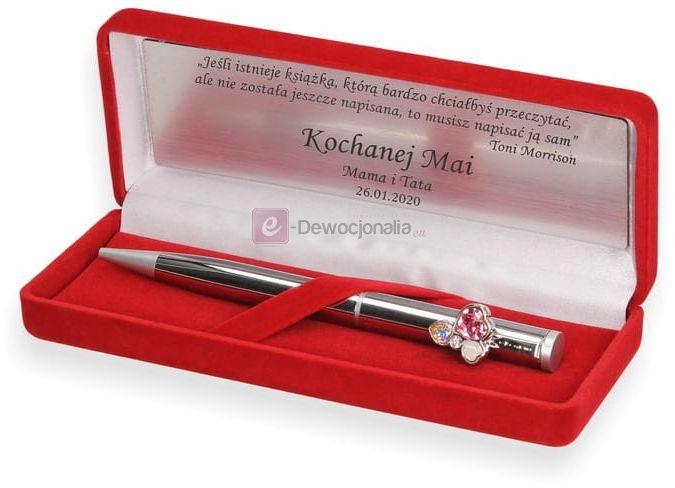Długopis zdobiony kryształkami Swarovski w pudełku SCARLET z grawerem PREZENT