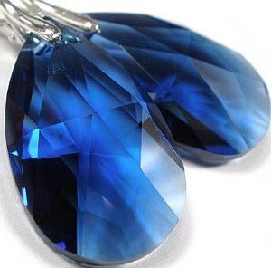 Swarovski Piękne Kolczyki Sapphire Certyfikat