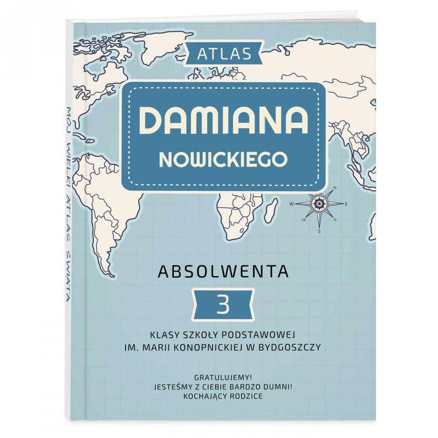 Atlas geograficzny z nadrukiem dla chłopca na absolutorium