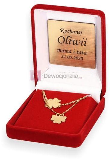 Komplet biżuterii HAPPINESS czterolistna koniczyna - prezent grawer