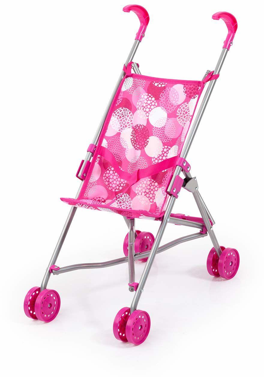 Bayer Design 30541AA wózek dla lalek z wbudowanym paskiem bezpieczeństwa, łatwo składany, biały, różowy z nowoczesnym wzorem