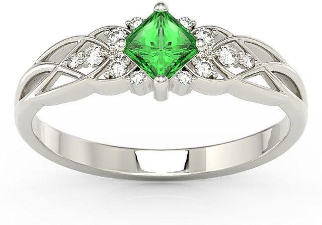 Pierścionek z białego złota z zielonym topazem swarovski i diamentami bp-86b