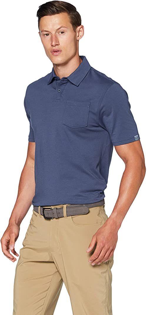 Under Armour Charged Cotton Scramble Polo, koszulka polo, koszulka polo z lewą kieszenią na klatkę piersiową i zapinaniem na 2 guziki męskie NIEBIESKI M