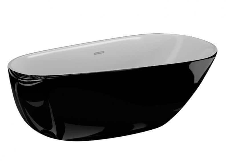Polimat wanna akrylowa wolnostojąca Shila czarny połysk 170x85 cm 00342