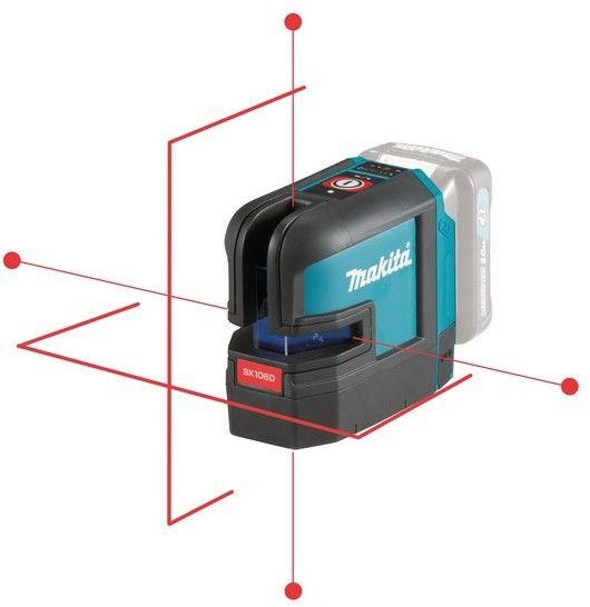 akumulatorowy, samopoziomujący laser krzyżowo-punktowy zasięg 25m z wiązką czerwoną, Li-ion 10,8V, Makita [SK106DZ]