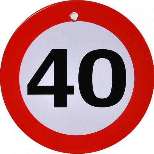 Metalowy znak z przyssawką na 40 urodziny Znak