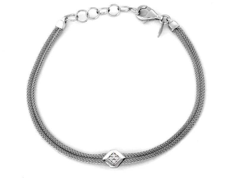 Srebrna bransoletka 925 podwójny gruby sznur z ozdobą 3,78g
