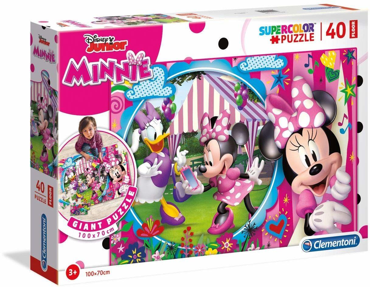 Clementoni 25462 puzzle podłogowe 40 części, (100 cm x 70 cm) -Disney Minnie, dla dzieci od 3 lat, wielokolorowe