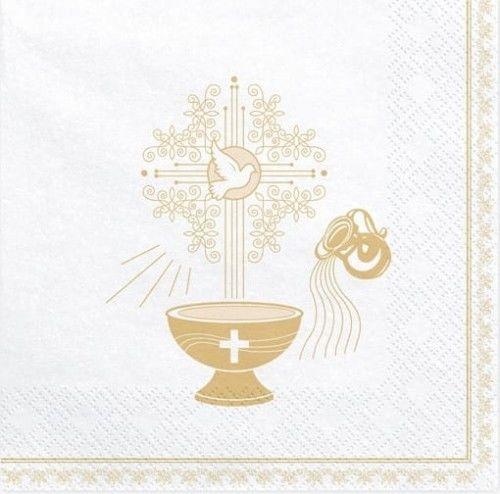 Serwetki na Chrzest Święty, złote