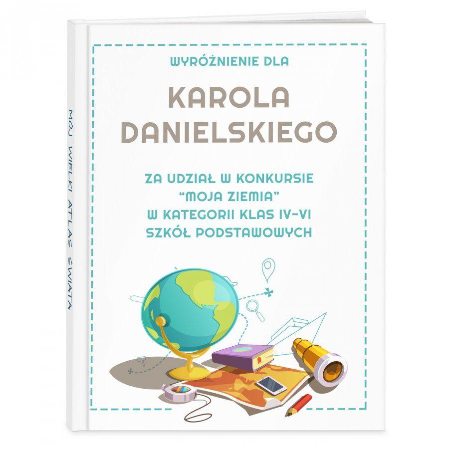 Atlas geograficzny z nadrukiem dla chłopca jako nagroda w szkole