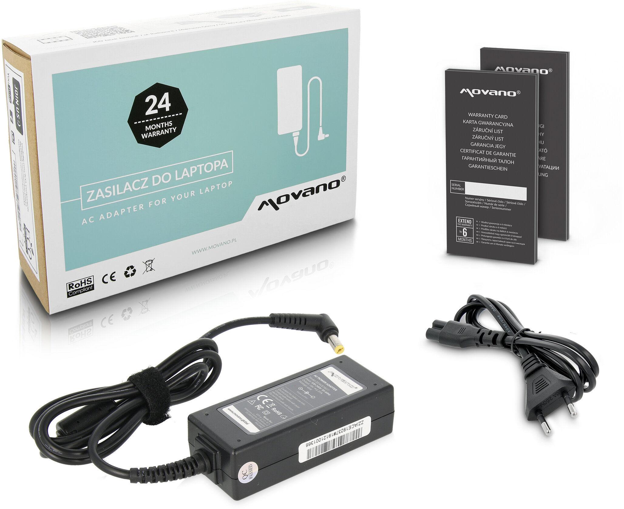 Zasilacz Movano Acer 19v 2.37a (1.7x5.5)
