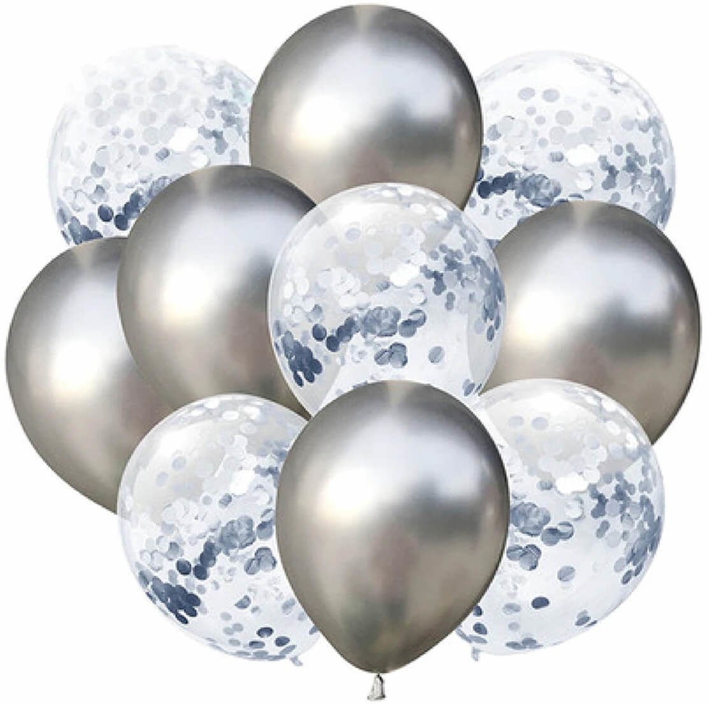 Zestaw balonów srebrny chrom + wstążka - 30 cm - 10 szt.